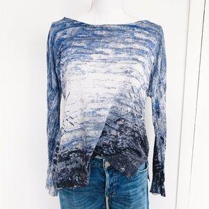 Nic + Zoe linen blend blue sweater abstract print